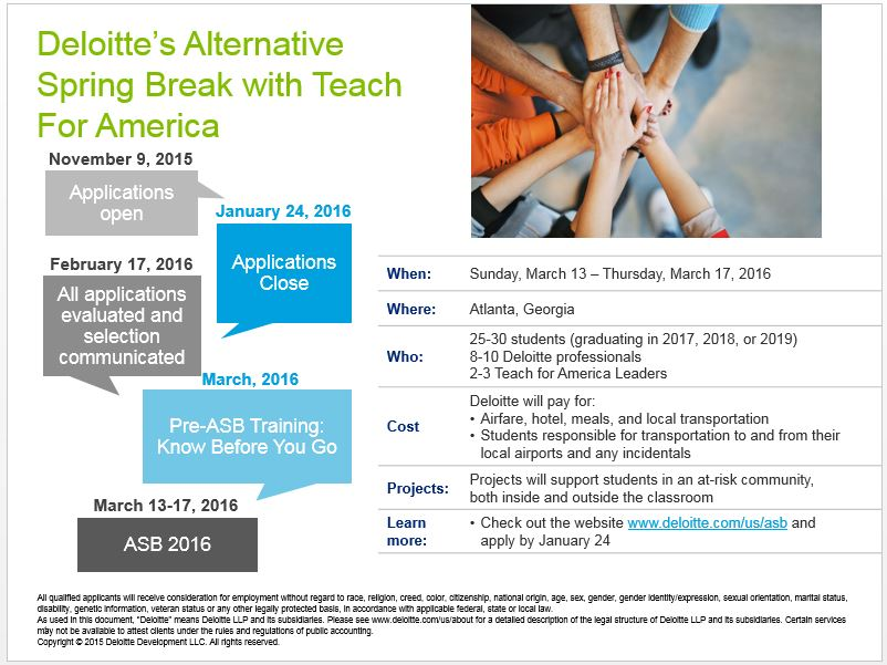 deloitte 39 s alternative spring break with teach for america apps due. Cars Review. Best American Auto & Cars Review